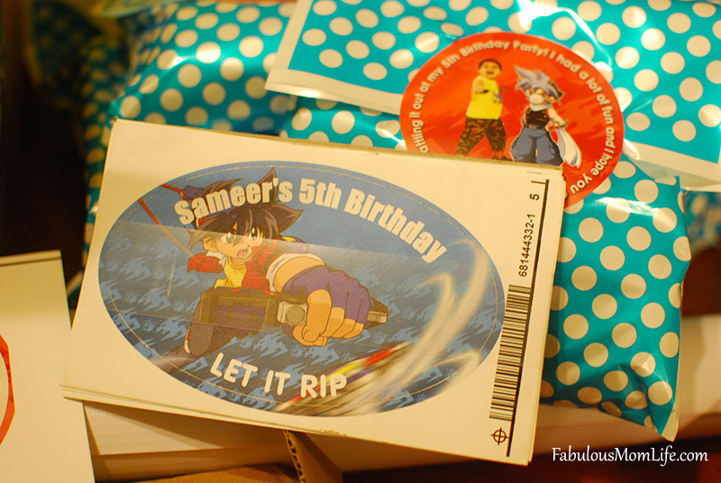 Personalized stickers for Beyblade Party