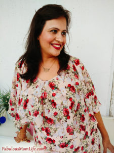 Romantic Floral Dress Outfit Closeup