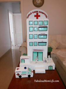 DIY Cardboard Box Hospital Model with Ambulance
