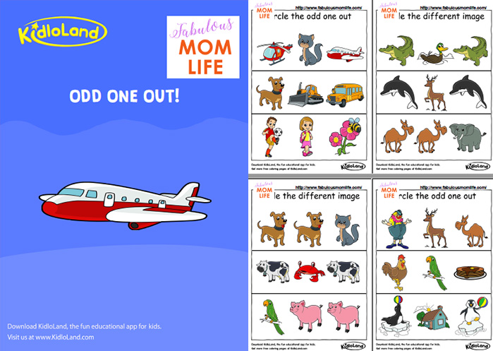 Free Printable Coloring Pages and Activity Worksheets for Kids – Odd One out Worksheets for Kindergarten
