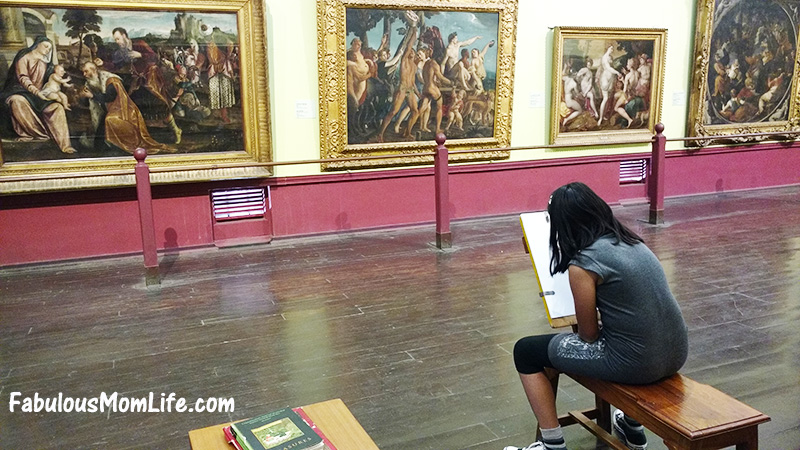 visitors sketching at mumbai museum