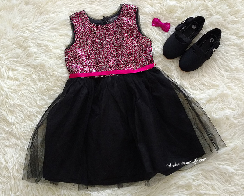 Black and Fuchsia Sequined Dress - Toddler Girl Party Fashion Outfit