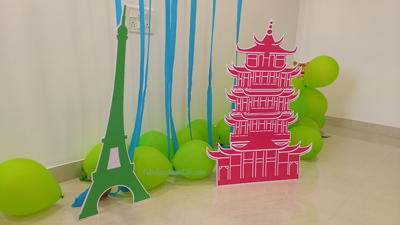 Around the World Party Decor - Japanese Pagoda and Eiffel Tower
