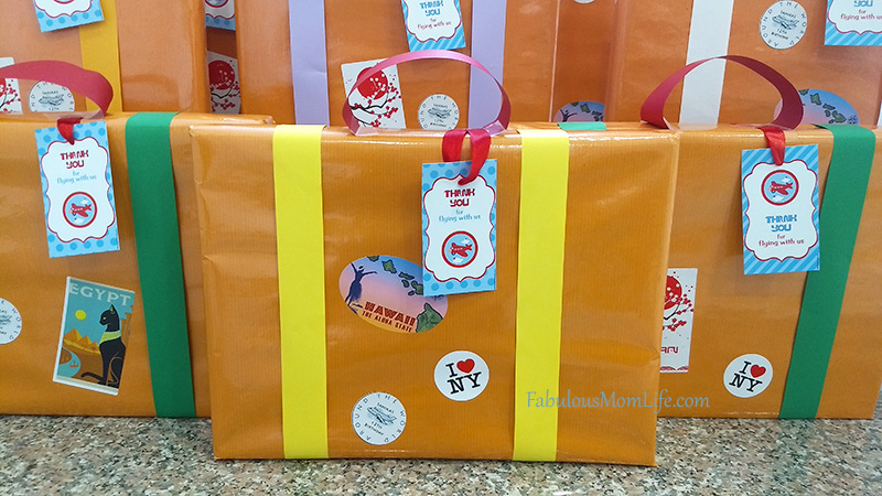 Suitcase Gift Wrapping for Around the World Party Favors
