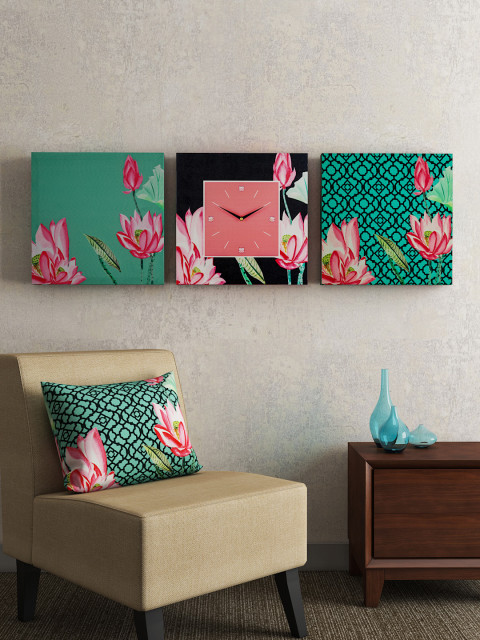 Square Set of 2 Wall Art and 1 Wall Clock for Drawing Room