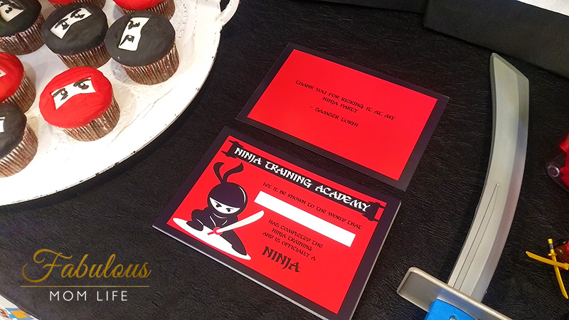 Ninja Birthday Party Thank You Cards and Ninja Training Certificates