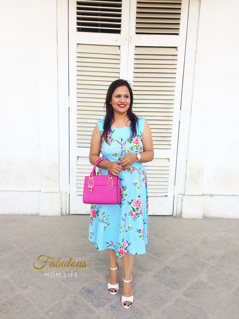 Blue Pink Floral Dress outfit with Fuchsia ALDO bag