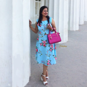 Blue and Pink Floral Dress Outfit