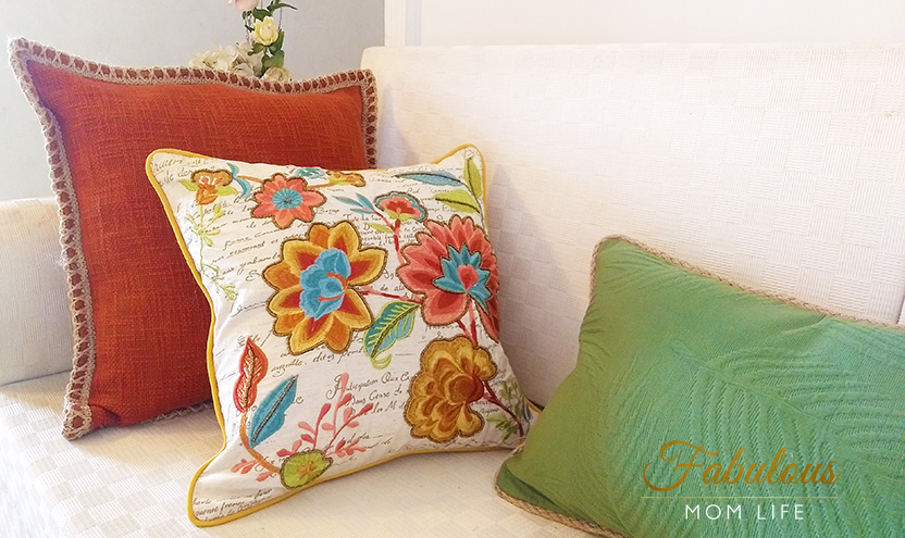 Rust, White and Green embroidered cushion cover set