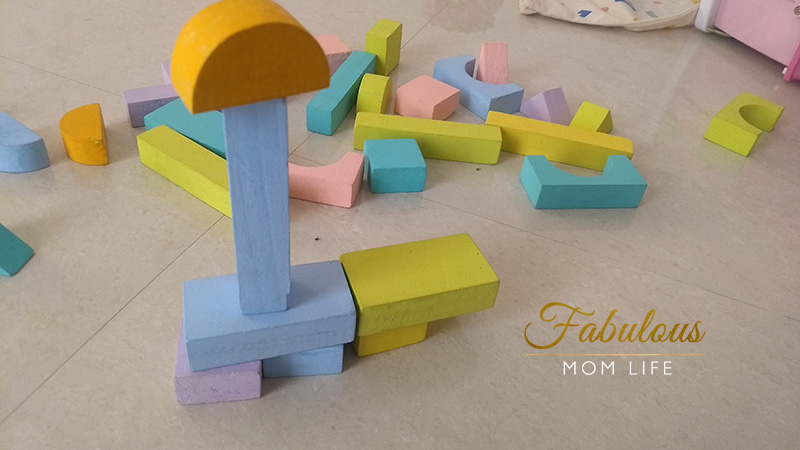 playtime with wooden blocks