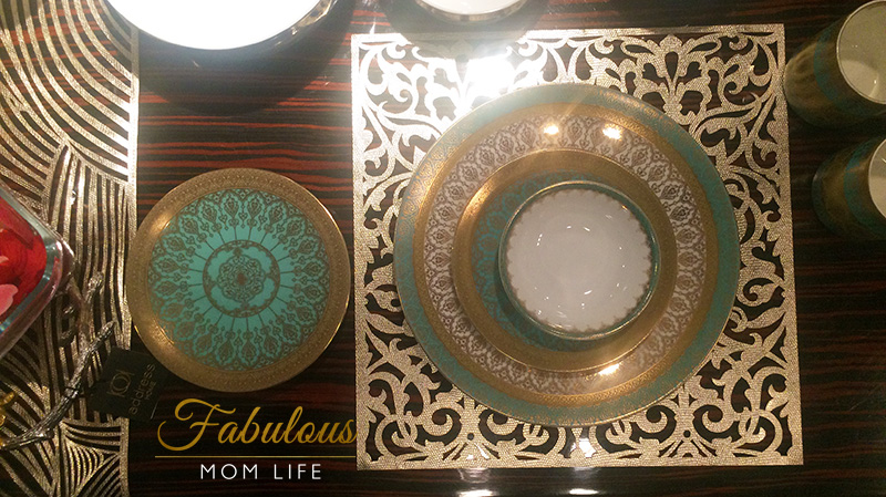 teal gold dinner set