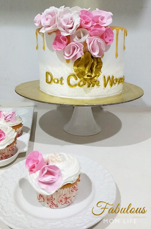 Pink and Gold Roses Cake to Celebrate 15 Years of DotComWomen.com