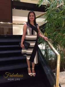 mommy fashion date night outfit - black and white asymmetrical dress