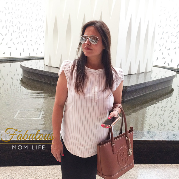 Semi Formal Airport Look with Pinstriped Blouse