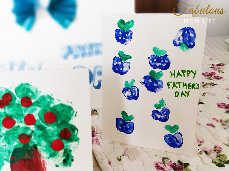 Thumb Print Blueberries Father's Day Card- Easy Art Idea for Toddlers