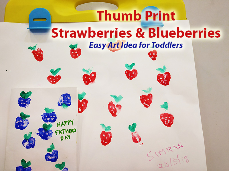 Thumb Print Strawberries and Blueberries - Easy Craft Idea for Toddlers