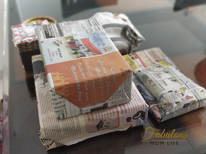 eco friendly newspaper gift wrap