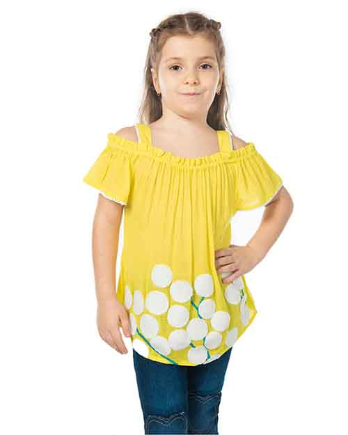 cherry crumble crest yellow top with flower embroidery