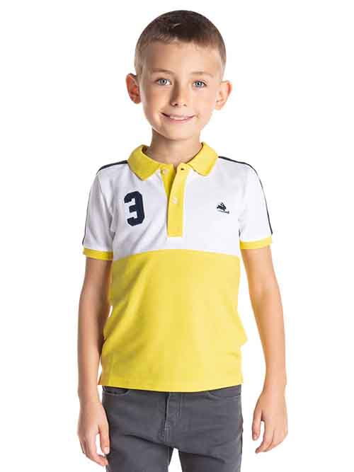 cut and sew polo shirt with contrasting ribbed collar and placket is effortlessly chic.The colorblock pattern and number three applique on the chest adds a dash of sass.