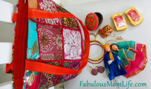 Indian Souvenir Embroidered bag contents