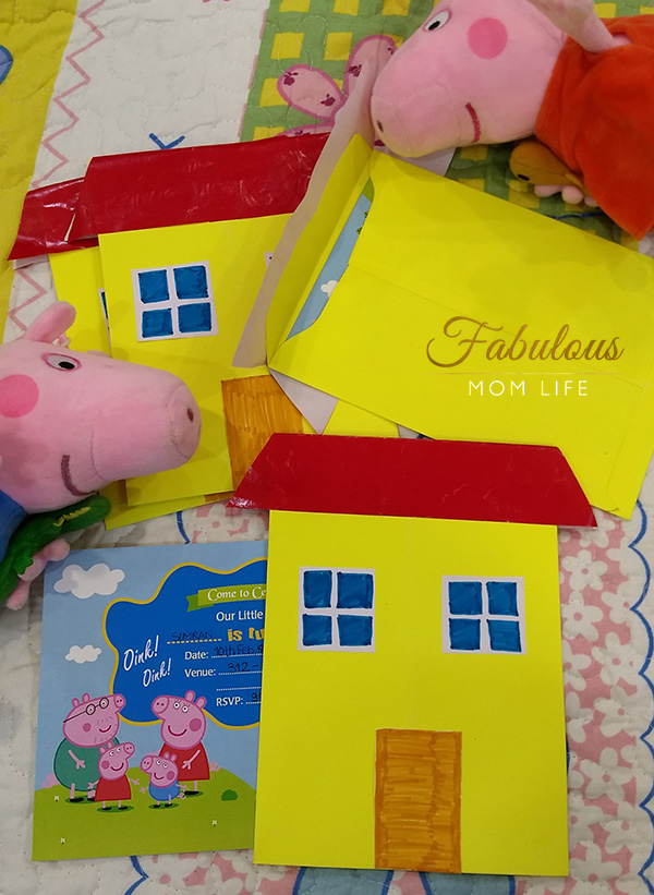 diy peppa pig house invitations