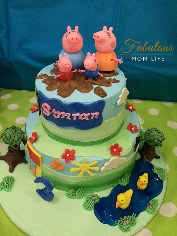 peppa pig birthday cake with muddy puddles
