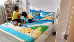 Pokemon Themed Kids Room Decor with Tangerine Bedsheets