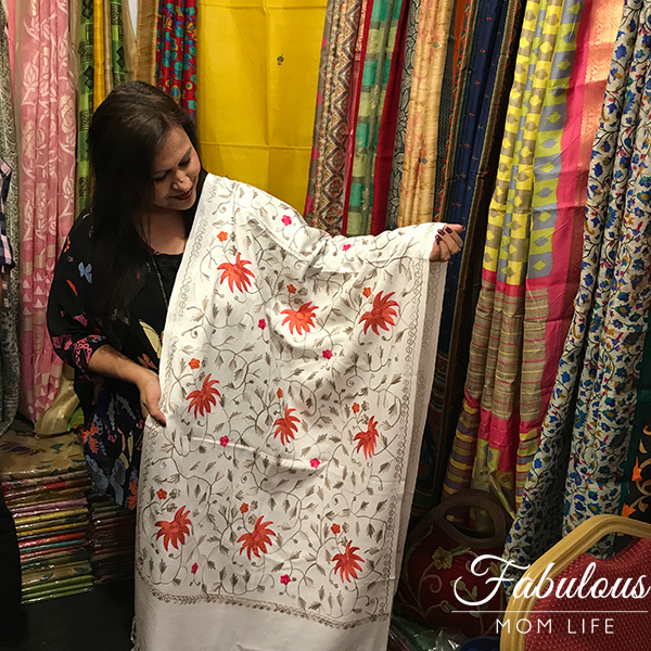 White and Pink Kashmiri Embroidery Shawl